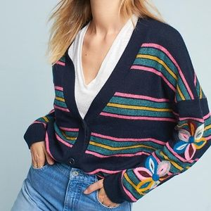 Anthropologie Moth Felted Posy Floral Cardigan